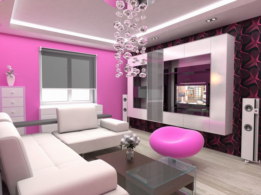 Modern style on pink sofas   Architecture & Interior Design on Beautiful Home Decor  id=86793