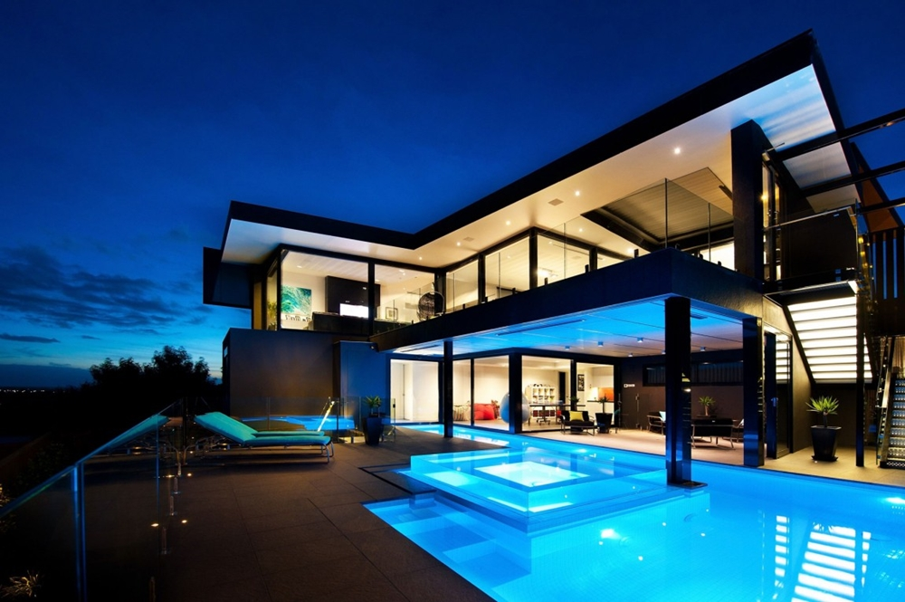 Top 50 Modern House Designs Ever Built    Architecture Beast Black home with blue lit swimming pool