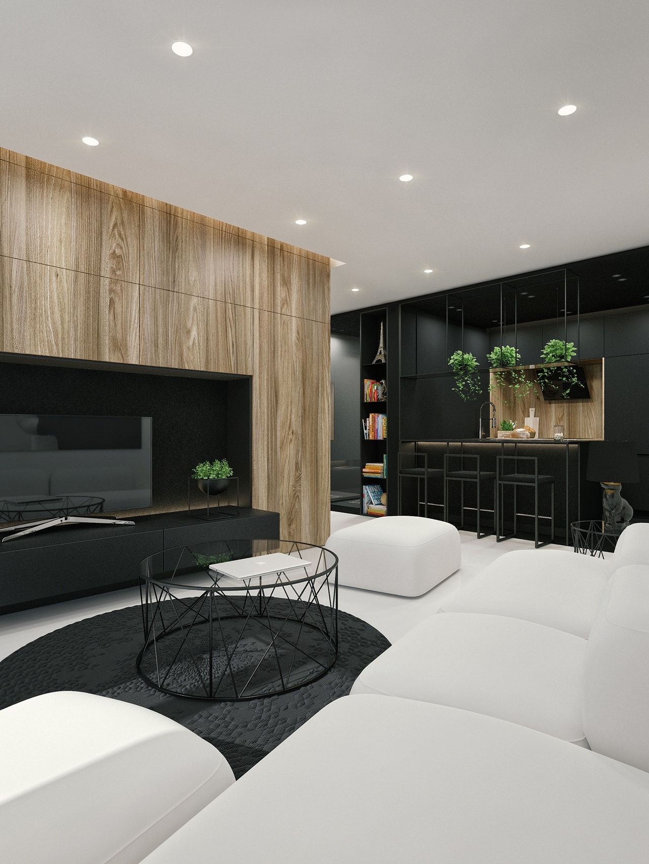 When you combine soft gray with equally soft white, cream and tan in the bedroom, you create a calm and yet sophisticated style. Black And White Interior Design Ideas: Modern Apartment by