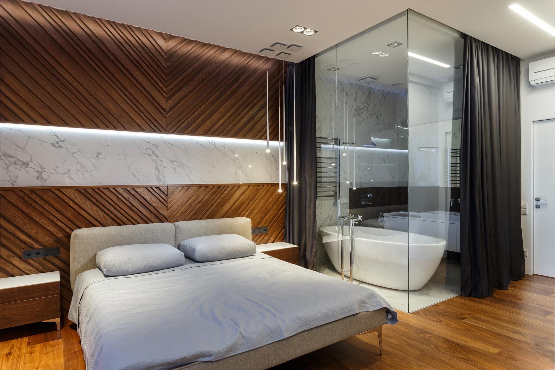 Glass Bathroom Walls In Modern Apartment By SVOYA