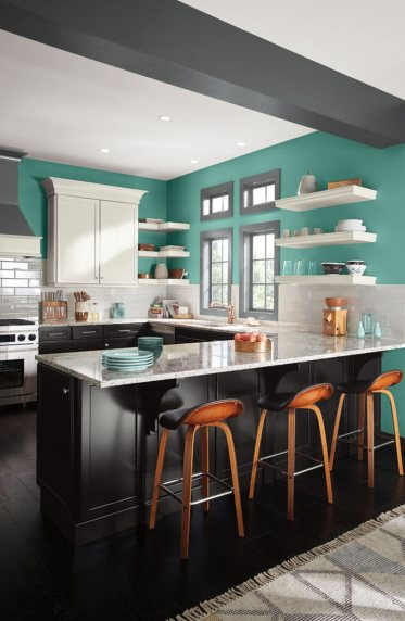 Awesome Kitchen Colors Combining Black And White Cabinetry With Bright Blue Green Walls
