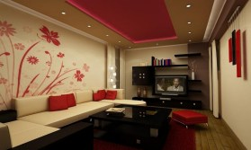 Elegant Adorable House Wall Decoration Ideas That Ahs Floral Motifs Wall Can Be Decor With Cream Modern Sofas That Can Add The Beauty Inside Modern Living Int