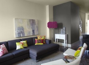 Ideas For Contemporary Living Room With Gray Accent Wall