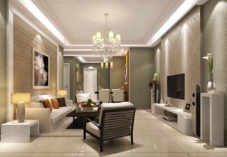 Living room interior design with TV background and chandelier sofa.