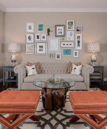 Modern Cream Wall Framed Wall Pictures For Living Room That Has Orange Seat Can Add The Beauty Inside Modern House Design Ideas With Round Table Inside