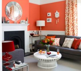 Orange Living Room With Dark Sofa Set Knowing More About The Right Living Room Furniture