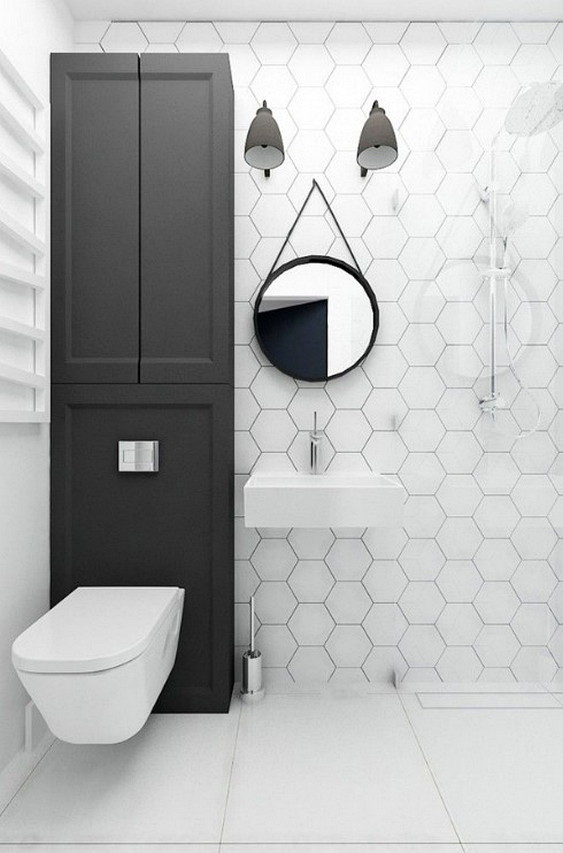 Black In White Minimalist Bathroom