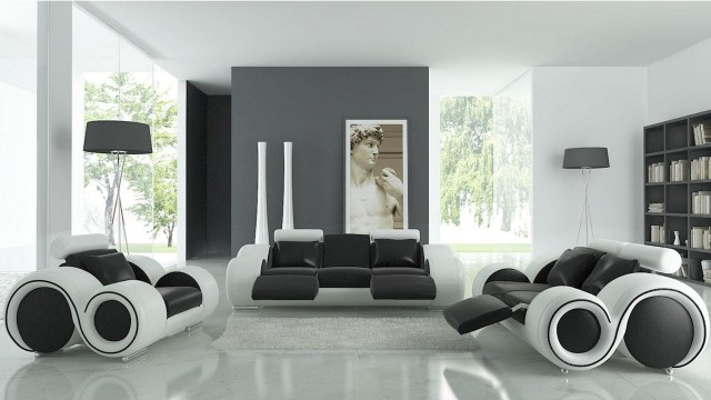 Unique Monochrome Sofa For Decorating Living Room With Contemporary Black And White Leather Futuristic