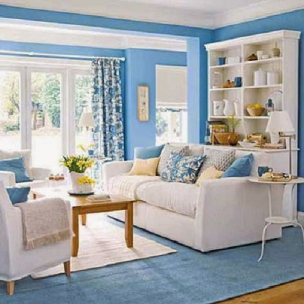 Blue Monochrome Living Room