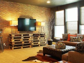 Amazing Rustic Living Room With Custom Painted Brick Wall