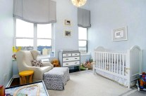 Beautiful And Simple Light Blue Backdrop Gives The Nursery A Tranquil Look Design Place Realty Unisex Colors Ideas