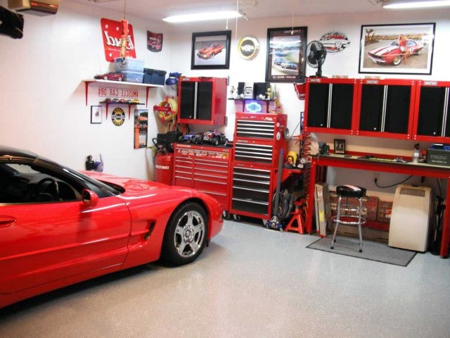 Cool Indoor Garage Design Ideas With Red Furniture Of Cabinet Also Desk Plush Stool