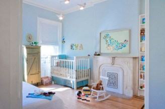 Light Blue Wall Art Hill Flower Blue Baby Room
