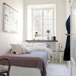 Narrow Bedroom Design For Couple With White Interior Color Inspiration