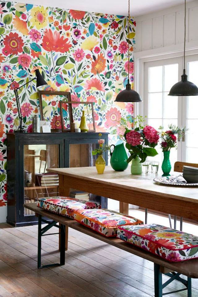 Different Colors And Patterns for Small Bohemian Style Dining Room Design