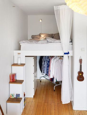 Lifting the Bed for Bedroom Design Ideas with Narrow Space