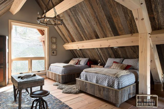 Attic for Bedroom Decorating Ideas with Wood Accents