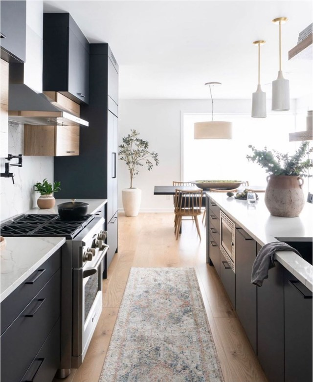 Black Kitchen Cabinets With Wood Floor