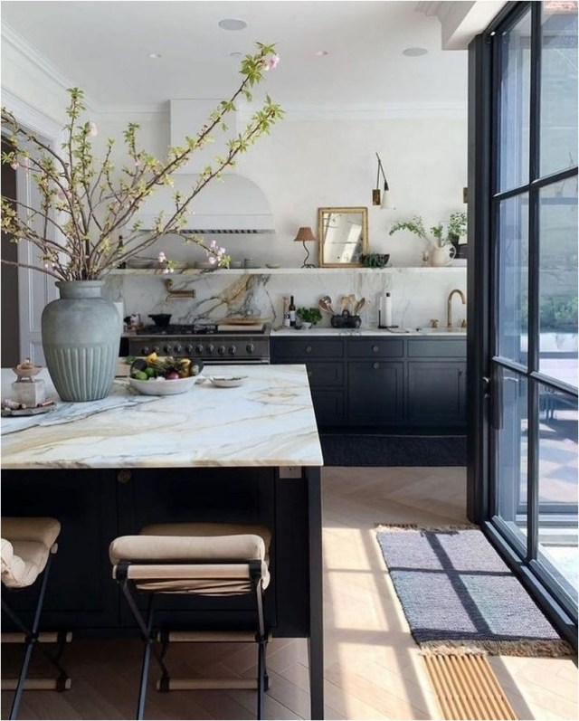 Black Kitchen With Copper Accent