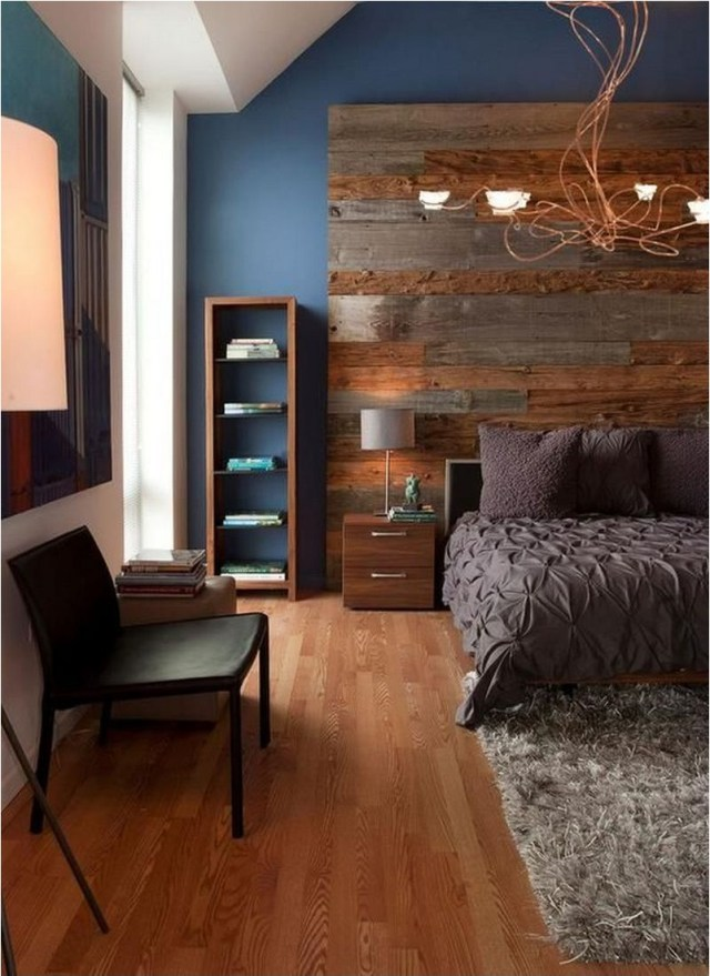 Blue Wall Contras With Wood Accent Bedroom