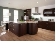 Color Alloy on Ceiling for Elegant Brown Minimalist Kitchen Decorating Ideas