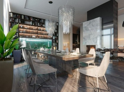 Contemporary Style Open Concept Dining Room With Kitchen Interior Design White Walls Panoramic Windows Home Library Chandeliers Fireplace Marble Table Chairs Aquarium