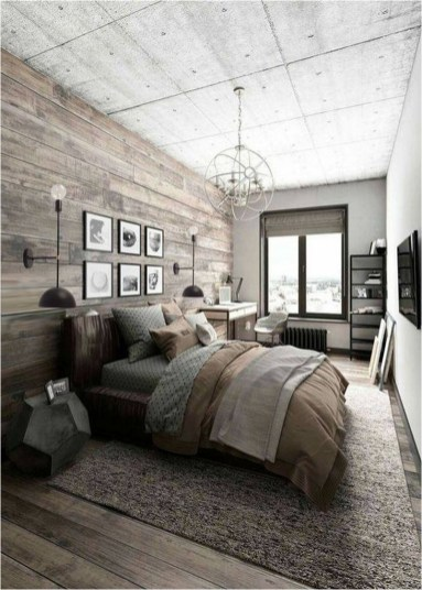 Exposed Ceiling With Pendant Industrial Bedroom Design