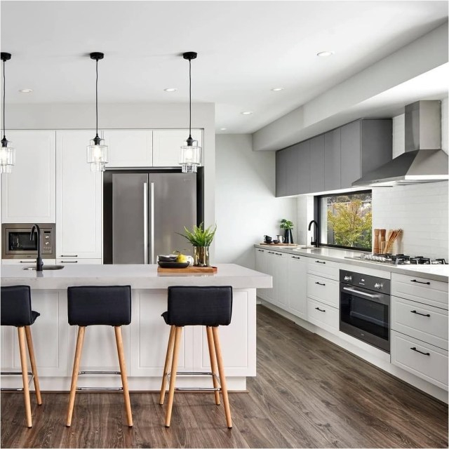 Indeep White Cabinets And Black Chair Kitchen Bar