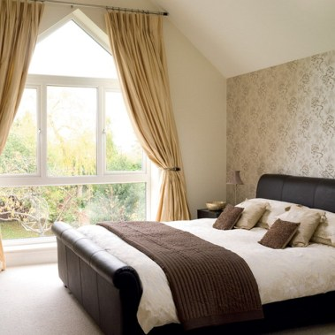 Large Window For An Attic, Beautifully Framed By Curtains