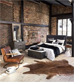 Low Bed Industrial Bedroom With Rugs