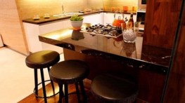 Mini Bar in Central Kitchen for Elegant Brown Minimalist Kitchen Decorating Ideas