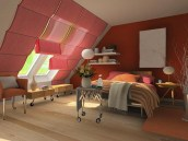 Pink Colored Small Attic Bedroom Design With Pink Orange Bedding And White Wall Pallete