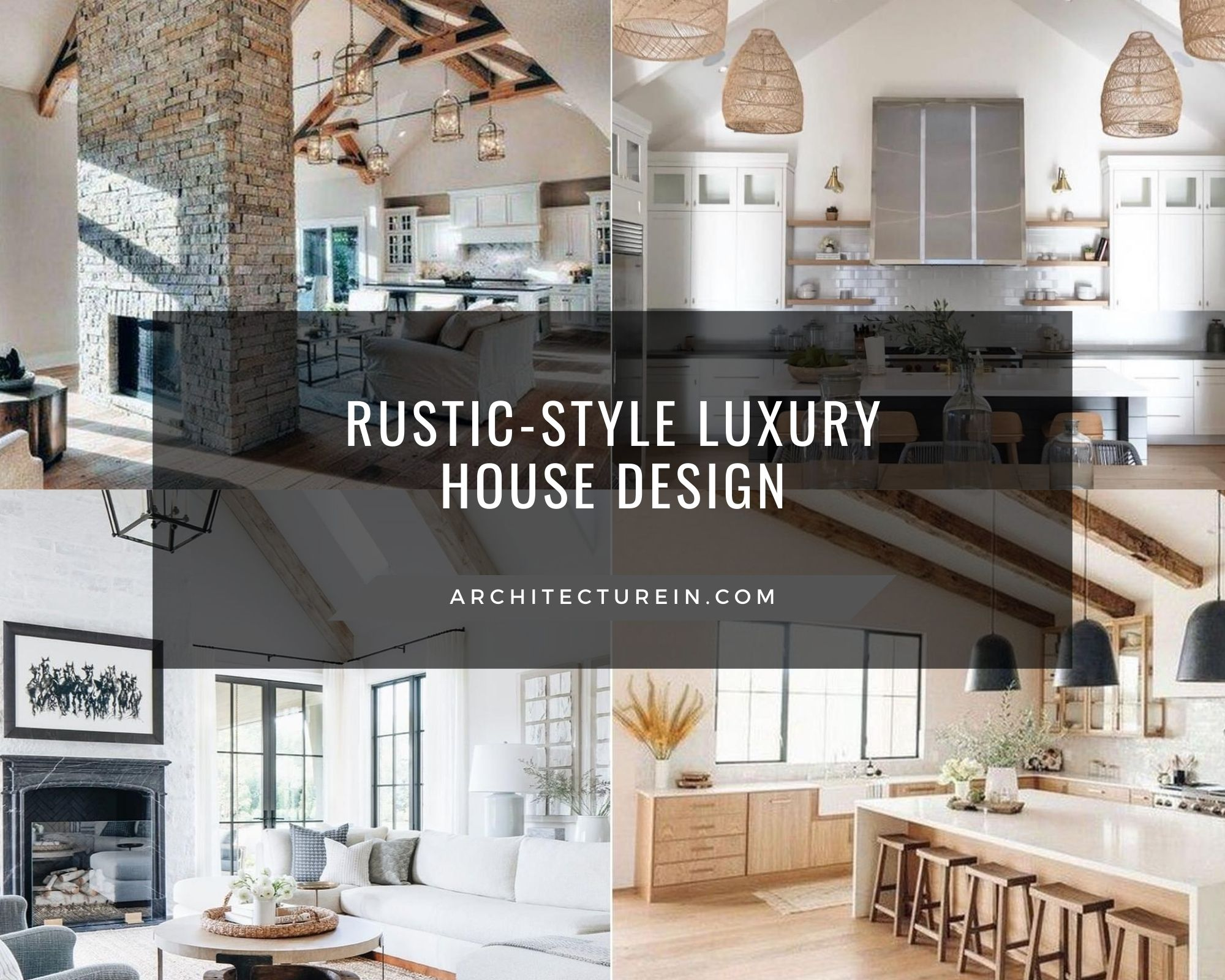 Front View for Rustic-style Luxury House Design