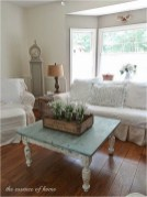 Shabby Chic Living Room With Vintage Table And Sofa