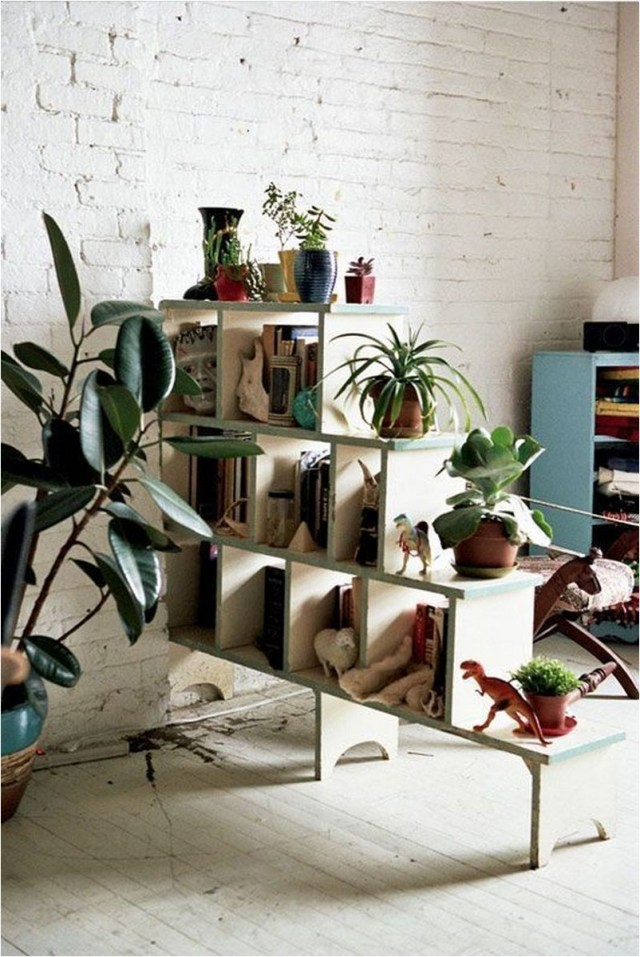 Shelves With Book And Plant As Partitions