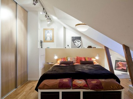 Simple Attic Bedroom With Wood Sliding Door