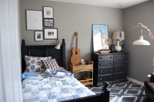 Small Bedroom Ideas For Teen Boys With Gray Walls And Black Furniture