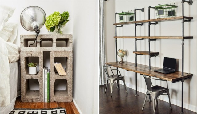 Table Pipe And Brick Rack, Industrial Furniture Ideas