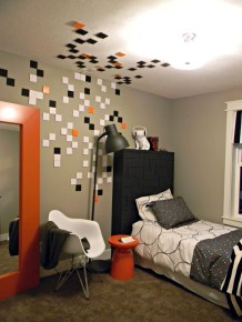 Teenage Boy Bedroom Ideas With Square Patches On The Wall