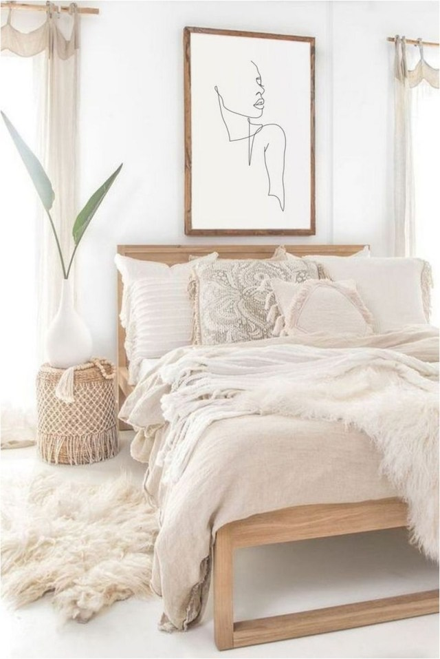 White And Light Brown Wood Bedroom