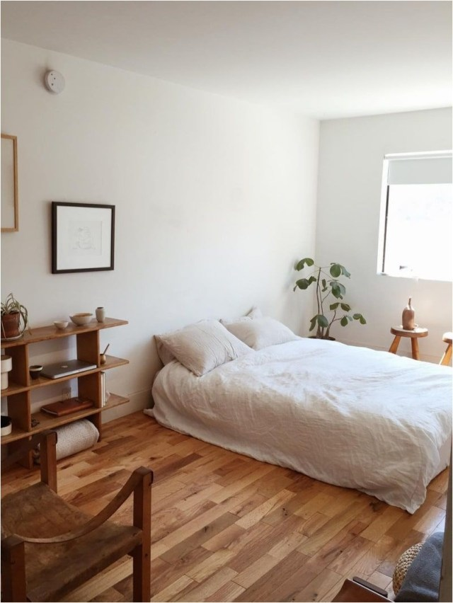 Wood Floor And White Bedroom Decorations