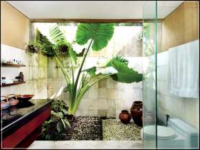 Natural Stone Ornaments for Simple Bathroom Design Without Bathtub