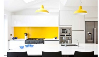Bright Yellow Wall And White Kitchen Combinations Ideas