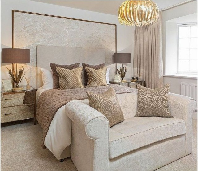 Contemporary Bown And Gold Bedroom Ideas