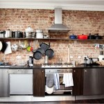 Exposed Brick Wall Kitchen Decorations With Open Floating Desk