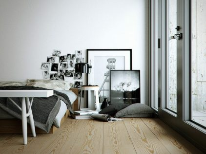 Floor for Bedroom with Black-White Theme