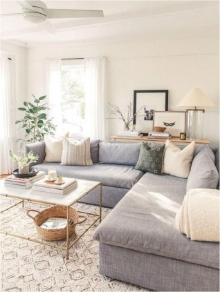 Light Living Room Apartment With Green Touch