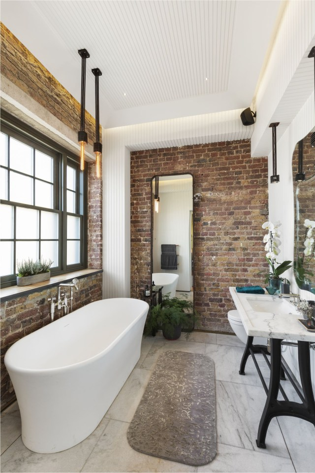 Scandinavian Bathroom With Brick Expose