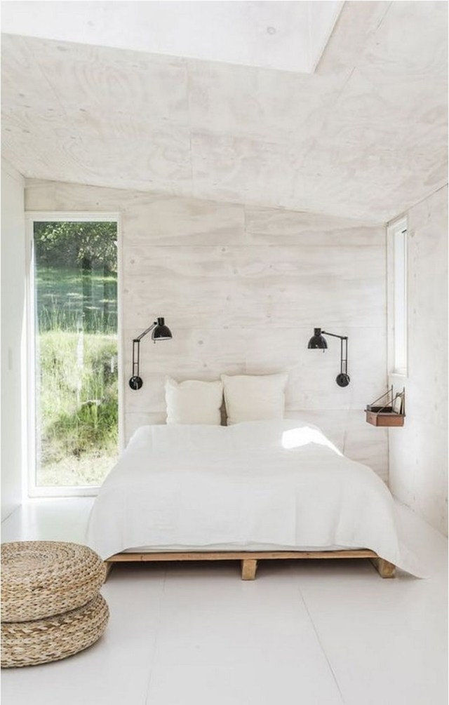 Simple Berdroom Ideas With White Wood Wall