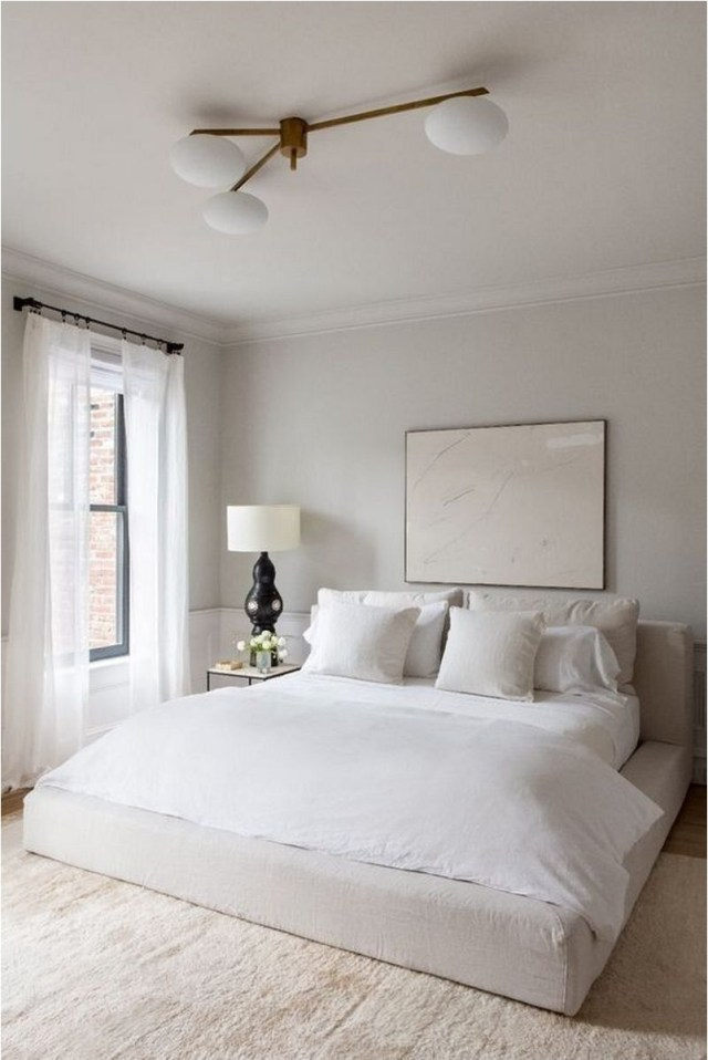Simple Calming White Bedroom With Carpet Ideas